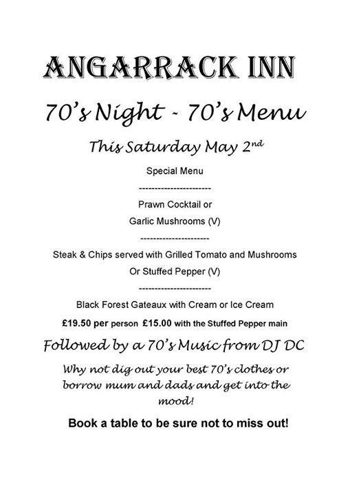 70's Night - 70's Menu